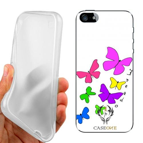 CUSTODIA COVER CASE CASEONE BUTTERFLY FREEDOM PER IPHONE 5 5G 5S