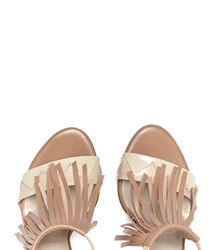 morbida Brown tacco Shoes Sandali For Women in con Poilei con alto frange Ria pelle AF1wqAfx