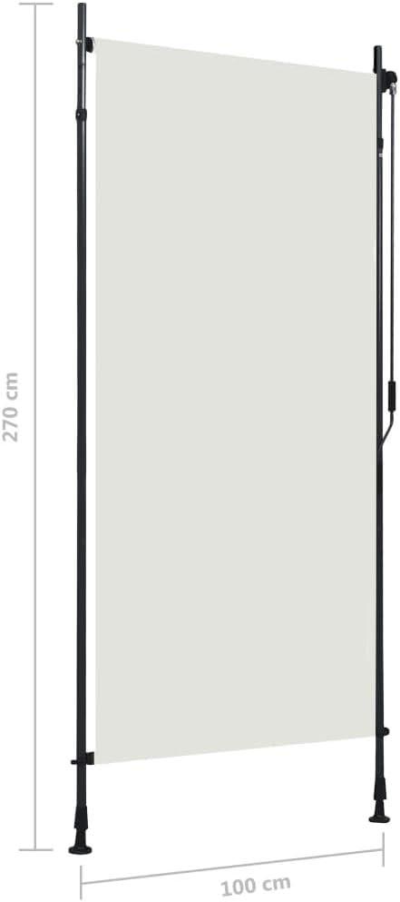 vidaXL Store Roulant dExt/érieur Ombre de Balcon Jardin V/éranda Pergola Terrasse R/ésistant aux UV et /à la Chaleur 100x270 cm Cr/ème