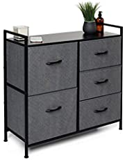 5 Drawer Dresser, Closet Storage Organizer, TV Stand, and Night Table - Chest of Drawers for Bedroom, Nursery Dresser, Nursery Closet, Foyer, Office Storage, Dorm and More - Black and Grey