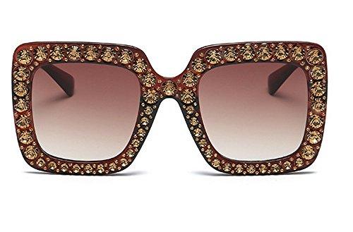 Sol Cuadrado Gafas Sol Gafas De De A De De Sol De JUNHONGZHANG Metal Mujer De Marco De F Gafas Diamante Gafas FBqawO