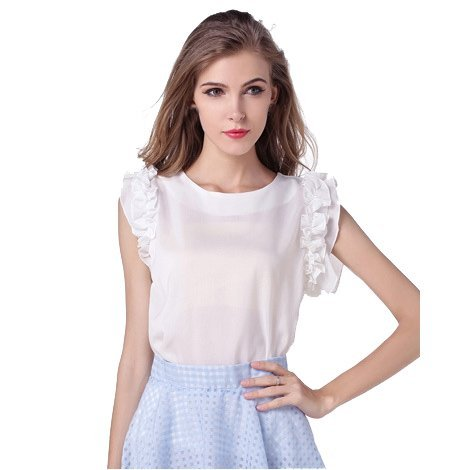 Vobaga Mujeres Verano Colmena de la manga Corta Camiseta Tapas Ocasionales Blusa T-shirt Blanco