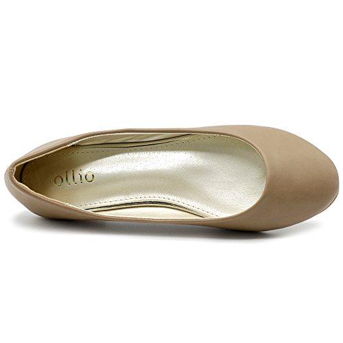 Ollio Damesschoen Ballet Basic Licht Comfort Lage Hak Platte Taupe