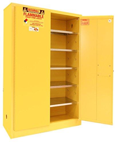 SECURALL P160 Paint/Ink Storage Cabinet, 2 Doors, 15 YR Warranty, 65 x 43 x 18 IN, 18-Gauge Steel, 60-Gal Cap, 5-Adj Shelves, FM Approved, SMaRT Certified, OSHA Comp - Yellow