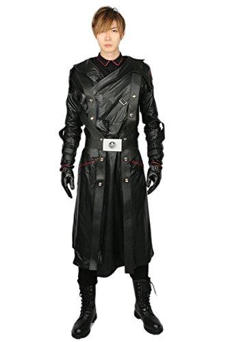 Red Skull Costume Black PU Cotton Deluxe Cosplay Coat Belt Suit Accessory S]()