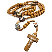 Catholic Saints Round Wood Beads Rosary INRI Jesus Cross Handmade Jerusalem 19