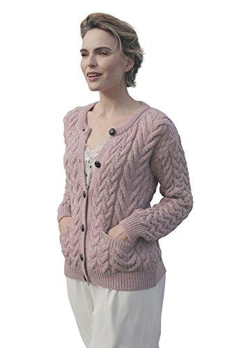Supersoft Aran Wool Lumber Jacket Cardigan Sweater (Winter Rose, ()