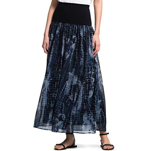 (DKNY Womens Tye-Dye Banded Maxi Skirt Navy)