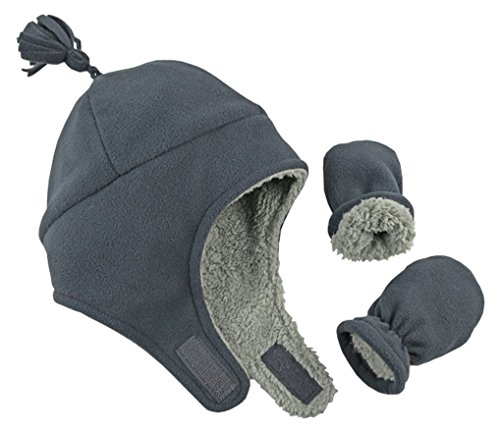 N'Ice Caps Little Boys and Baby Sherpa Lined Micro Fleece Pilot Hat Mitten Set (Charcoal Gray Infant, 3-6 - Boys Fleece Pilot