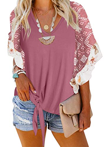 Asvivid Womens Boho Floral Printed V Neck Bell Short Sleeve Summer Shirt Loose Ladies Casual Tops and Blouses S Pink