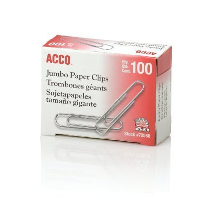 ACCO Paper Clips, Economy, Smooth, Jumbo, 200 Paper Clips (72580) (Jumbo Paper Clips)