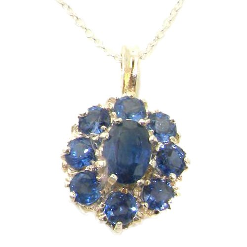 Ladies Solid 925 Sterling Silver Natural Light Blue Sapphire Large Cluster Pendant Necklace Light Sapphire Necklace