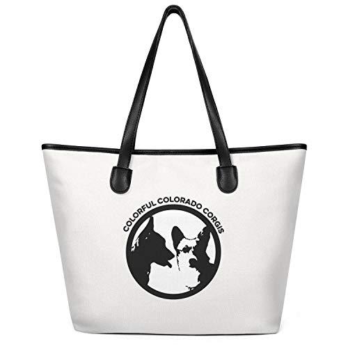 Womens Tote Craft Bag Large Capacity Reusable Canvas Shopping Bag Dog Colorful Colorado Corgis Handbag Very Durable Work Shoulder Bag Grocery Beach Tote Duck Bag Business Crossbody Bag