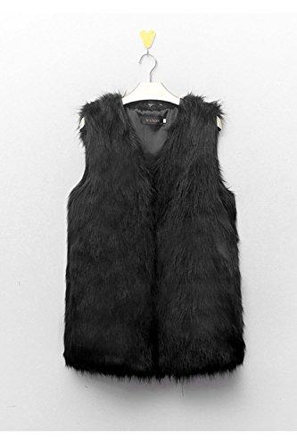 negro Peludo Faux Sevozimda Chaleco Mangas Chaqueta Sin La Outcoat Gilet Elegante Mujer Abierto Fur Frente 66wCpxaqT