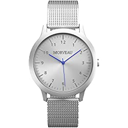 Morveau Casual Jetsetter Reclaimed Airplane Aluminum Minimalist Men Watches - Stainless Steel Mesh Band