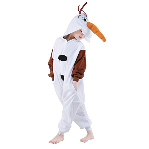 NEWCOSPLAY Kids Plush One Piece Cosplay Onesies Costume (95, Olaf) -