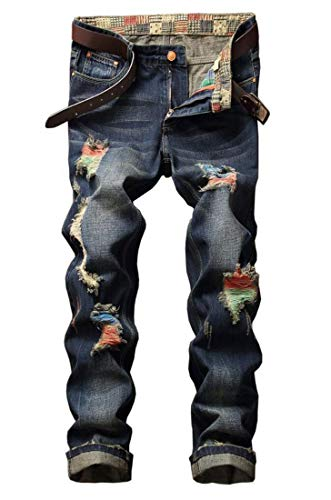 Amoystyle Men's Distressed Ripped Jeans Blue 8730 Asian 40