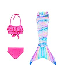 elfin Girl Mermaid Tail Swimsuit Princess Bikini 3 Set