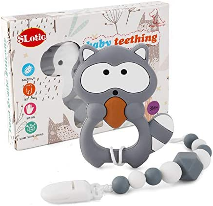 Slotic Baby Teething Toys, Raccoon Teether Pain Relief Toy with Pacifier Clip Holder Set for Newborn Babies, Freezer Safe Neutral Shower Gift, Soft & Textured Stocking Stuffers for Girl (Grey)