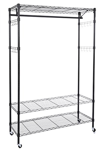 Homdox 3-Tiers Big Size Heavy Duty Wire Shelving Unit Garment Rack with Hanger Bar Wheels+2 Pair Side Hooks,Black ()