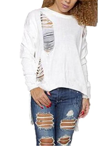 Tops Irr Col Long Tayaho Femme Sweater Loose Manches Pull Longues Rond 1nww8gqav