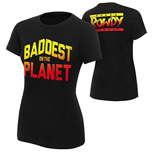 WWE Ronda Rousey Baddest On The Planet Women's T-Shirt Black Medium by WWE Authentic Wear