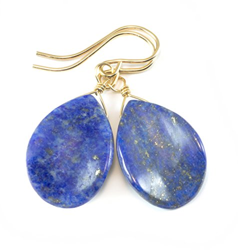 14k Gold Filled Lapis Lazuli Earrings Blue Smooth Curved Teardrop Shaped (Denim Lapis Ring)