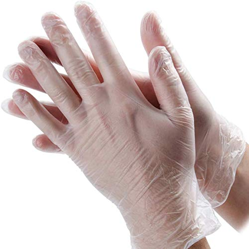 100 Pcs Disposable Clear Plastic Gloves,Plastic Disposable Food Glove,Disposable Polyethylene Work Gloves for Cooking…