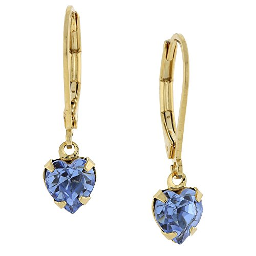 14k Gold-dipped Petite Sapphire-Color Crystal Heart Earrings (Earrings Crystal Petite)