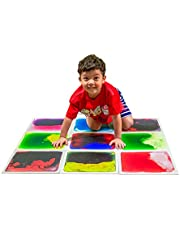 """Art3d Liquid Fusion Activity Play Centers for Children Toddler Teens 12"""" X 12"""" Pack of 9 Tiles in Different Color"""
