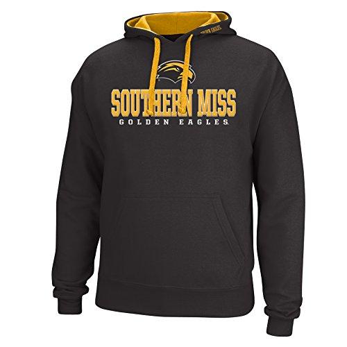 J America NCAA Southern Mississippi Golden Eagles Men's Logo School Name Foundation Hoodie, X-Large, Black/Gold ()