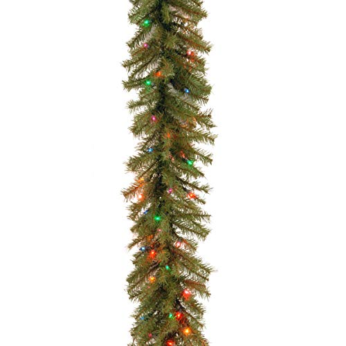 National Tree 9 Foot by 10 Inch Norwood Fir Garland with 50 Battery Operated Multicolor LED Lights (NF3-309-9A-B) (With Garland Christmas Led Lights)