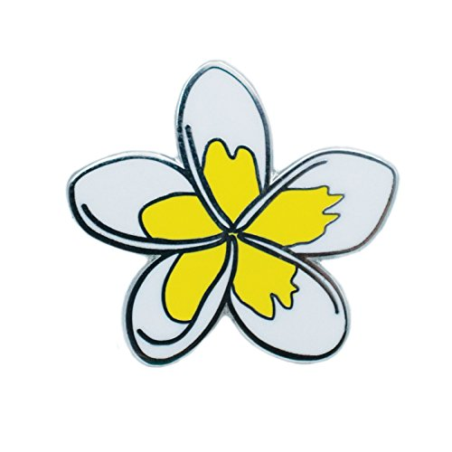 White Enamel Flower Pin (White and Yellow Plumeria Tropical Hawaiian Lei Flower Hard Enamel Pin)