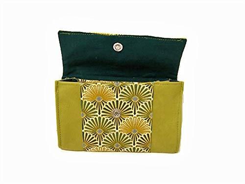 porte monnaie femme vert motifs art deco pochette porte cartes en simili cuir rangement de sac,cadeau pour elle