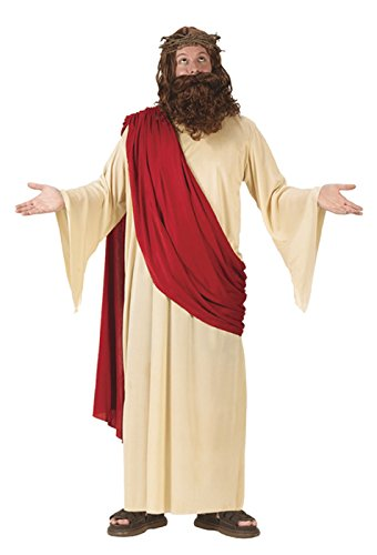 FunWorld Men's Jesus Adult Costume, Cream/Red, One Size Fits Up To 6ft. 200 (Funny Famous Couples Costumes)