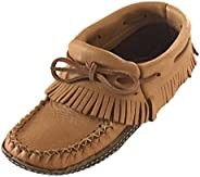 Bastien Industries Women's Fringe Moose Hide Leather with Heavy Oil Tan Sole Earthing Ankle Mocca