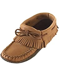 Bastien Industries Womens Fringe Moose Hide Leather with Heavy Oil Tan Sole Earthing Ankle Moccasins