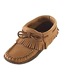 Bastien Industries Women's Fringe Moose Hide Leather with Heavy Oil Tan Sole Earthing Ankle Moccasins