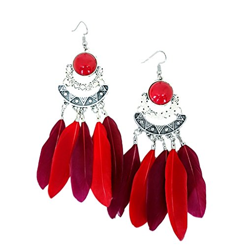 Mina Antique Silver 4 inch Drop Tribal Global Feather Festival Cochella Native Long Shoulder Duster Red Earring