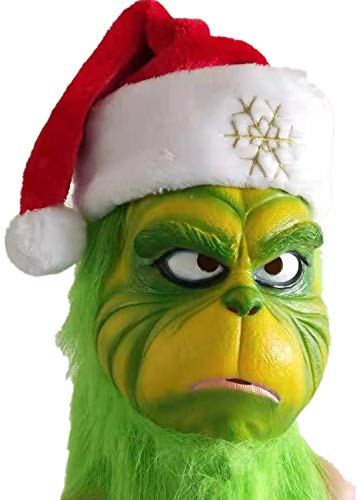 Lepy Grinch Deluxe Mask with Hat Green Full Head for Christmas -