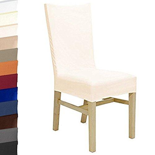 Beautissu® Stuhlhusse Stretch-Husse Ecru Bi-Elastic - Stuhl-Bezug bis 45 cm Sitzfläche und 70 cm Rückenhöhe - ÖKO-TEX