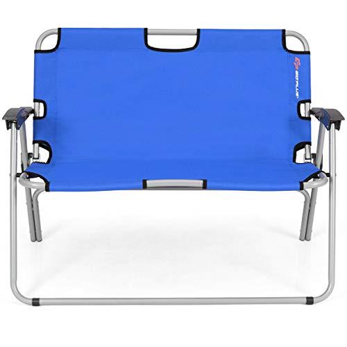 Allbest2you Folding Double Camping Bench Garden Backyard Loveseat Portable Outdoor Chair Blue