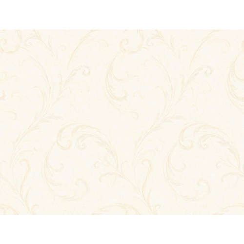 York Wallcoverings CS8660SMP Metallics Book Distressed Feather Scroll Wallpaper Memo Sample, 8-Inch x 10-Inch, Oyster Pearl Metallic/White/Bisque