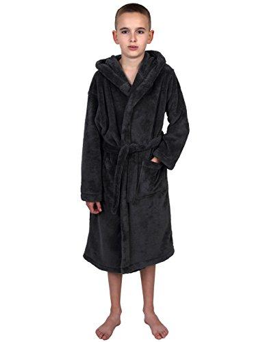 TowelSelections Boys Robe, Kids Plush Hooded Fleece Bathrobe, Made in Turkey