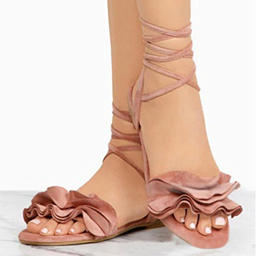 Casual Verano de Chancla QinMM Sandalias Mujer Vestir Fiesta Rosa de con Playa Zapatos para Plano y Cordones 7Sq6wqC