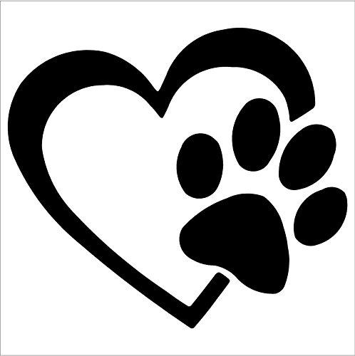 amazon com heart with dog paw puppy love vinyl decal window sticker