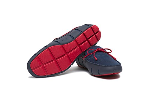 SWIMS Mens Braided Loafers Navy/Red 0ZcWzX2