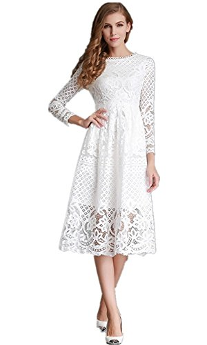 MoonlightCity Women Spring Autumn Bohemian Hollow Long-sleeved Lace Dress White XXL