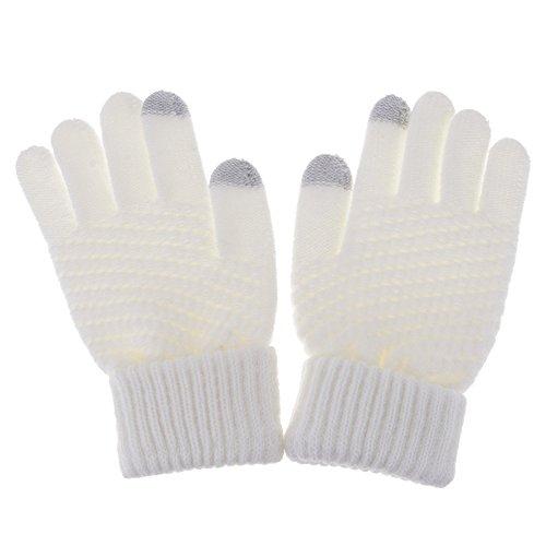 女性手袋 秋冬着 スマートフォン用 ソリッドカラー マジックタッチスクリーン ニットミトンウォーム手袋 ホワイト