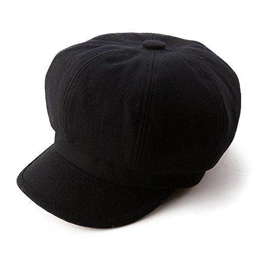 SIGGI Womens Merino Wool Visor Beret Newsboy Cabbie Cap Winter Hats with Lining Spring 67145_black,Medium by SIGGI (Image #2)